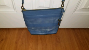 Fossil blue leather cross body bag and wallet