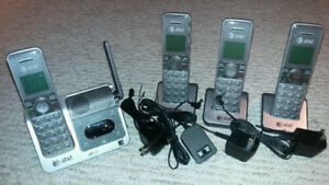 Awesome 4 Pk AT&T Cordless Phones/Caller ID/Asr System