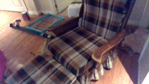 plad chair and matching ottomen