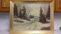 Listed Canadian artist P.Hyttinen old big size oil painting