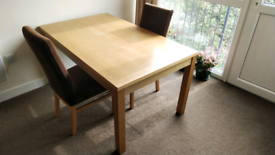 Wooden Dining Table with 2 chairs