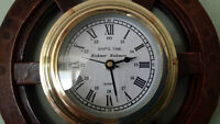 "Ship's Time Rickmer Rickmers Wood & Brass Wheel Wall Clock 12"""
