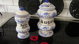 Meissen - Sugar and Instant Coffee Canisters - Blue Onion