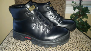 *NEW Polo Ralph Lauren Hainsworth Men's Smooth Leather BOOTS Bla