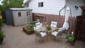 PATIO UMBRELLA, TABLE AND CHAIRS