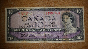 1954 10$ BILL IN GOOD CONDITION FOR THE YEAR ONLY 25$........... London Ontario image 1