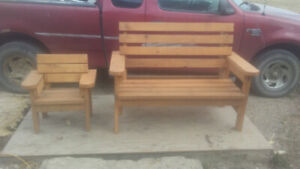 Benches, chairs and kids picnic tables