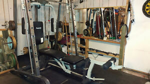 Full Smith machine and over 400 lbs. weights