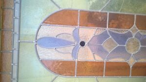 wooden antique stained glass hanger