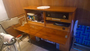 antique elec fireplace with turntable