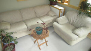 beige leather chair and sofa set
