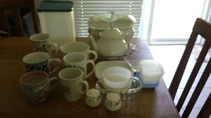 misc kitchen items inc Tupperware, Corning, vintage teapot&bowl,