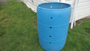 55 Gal. plastic barrel - $20