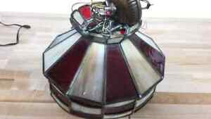 Lamp  stained glass beige and red