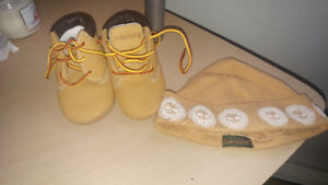 timberland baby boots and hat
