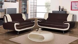 BRAND NEW = SALE OFFER KAROL LEATHER 3 & 2 SEATER SOFA BROWN AND CREAM WHITE & RED & BLACK & BROWN