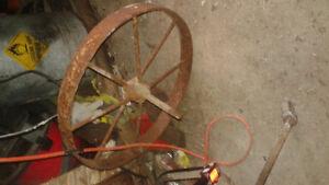 "antique 20"" steel wheelbarrow wheel"