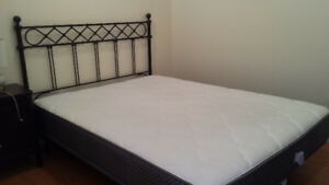QUEEN BED WITH HEAD BOARD, FRAME , MATTRESS WITH 1 NIGHT TABLE
