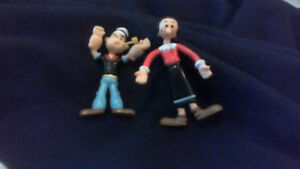 Vintage Olive Oil and Popeye cartoon characters bendable rubber
