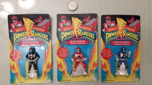 Lot of 3 Unpunched 1993 mosc power rangers erasers