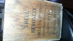 Antique wooden shell oil crate