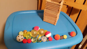 Popsicle stick bin with various bouncy balls and marbles Kitchener / Waterloo Kitchener Area image 1