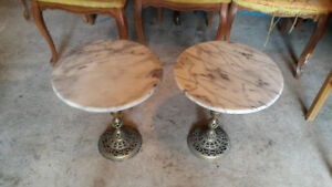 Pair solid marble end tables with brass leg, heavy.