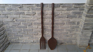 LARGE WOOD CARVED FORK AND SPOON