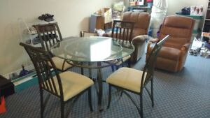 "45"" Glass Table with 4 Matching Sturdy Chairs"
