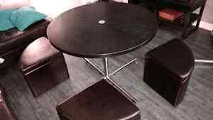 Table a cafe transformable avec bancs de rangement