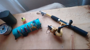 Canne à pêche telescopique et accessoires