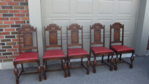 5 antique dining side chairs with red leather seats
