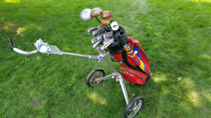 Golf clubs, bag, cart and more