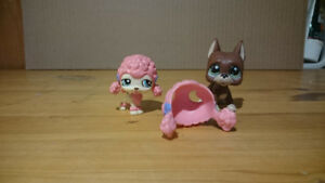 Littlest Pet Shop / LPS - Poodle & Great Dane Set - RARE