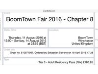 Boomtown 2 weekend tickets + camping £350