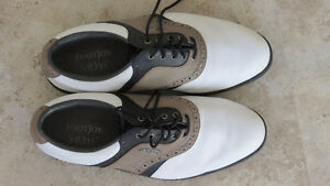 FOOTJOY CLASSICS SADDLE WHITE/SUEDE MENS GOLF SHOES SIZE 11M