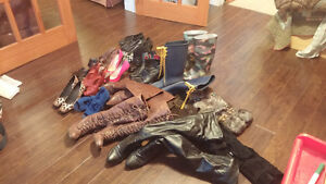bag full of shoes and boots