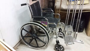 Folding Steel Transport Wheelchair with Full Arms Windsor Region Ontario image 1