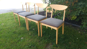 4 Mid century dining chairs with new upholstery and finish