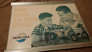 *** PEPSI COLA Cardboard Poster ~ Framed Sign ~ 1960s - 1970s