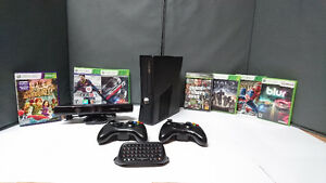 Xbox 360 slim + kinect + ferrari gaming wheel + 7 games
