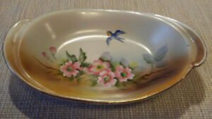 Antique Noritake Nippon Hand Painted Dish with Bluebird