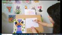 Online LIVE Weekly Kids Drawing Classes, children ages 5 & up