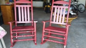 Solid wood rockers with wicker seat.