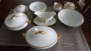 Dishes, Bavaria gold trim fine china dining set. Estate  $175