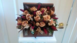 Assortment of basket arrangements with preserved/dried roses
