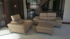 3 piece genuine leather living room set with pull up head rests