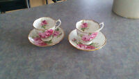 TWO AMERICAN BEAUTY CUP & SAUCER SET