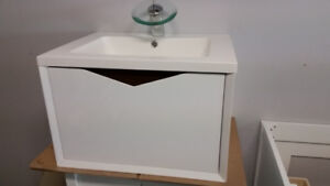 "24"" modern beveled wall mounted vanity with sink and cabinet"
