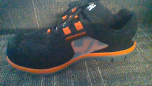 Orange and black steel toed shoes size 8 (&a half)